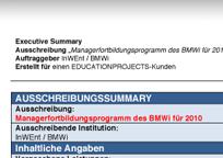 Educationprojects Ausschreibungssummary Muster (PDF 229 KB)